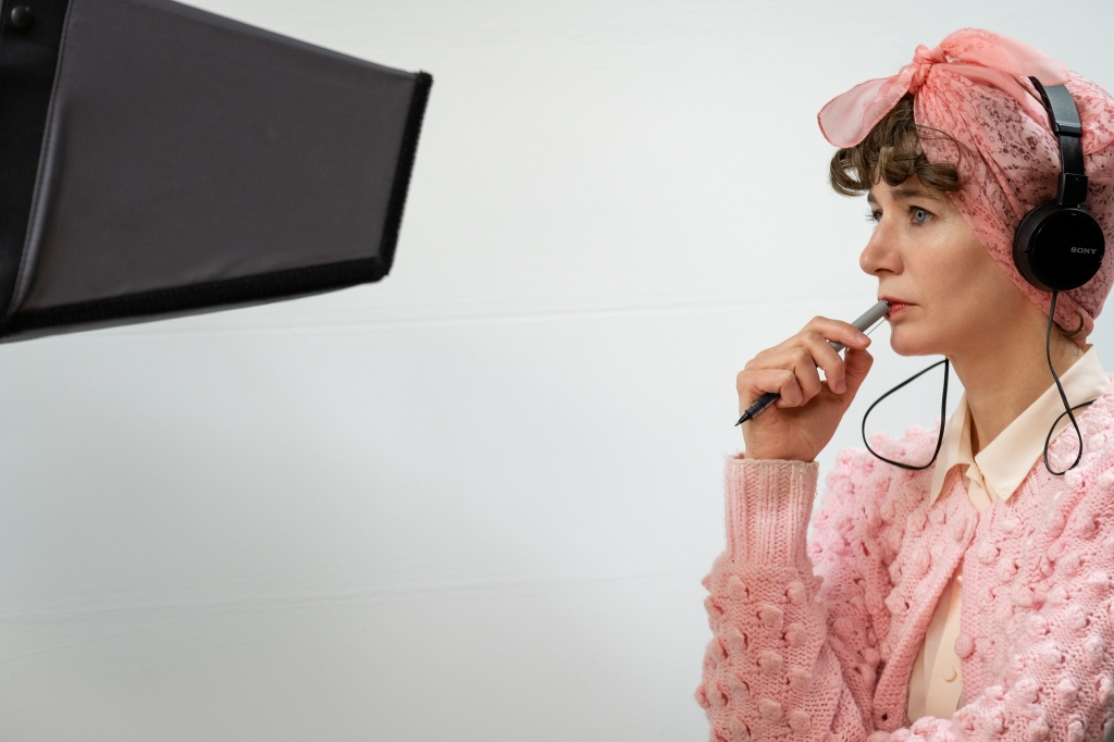Director Miranda July on set.