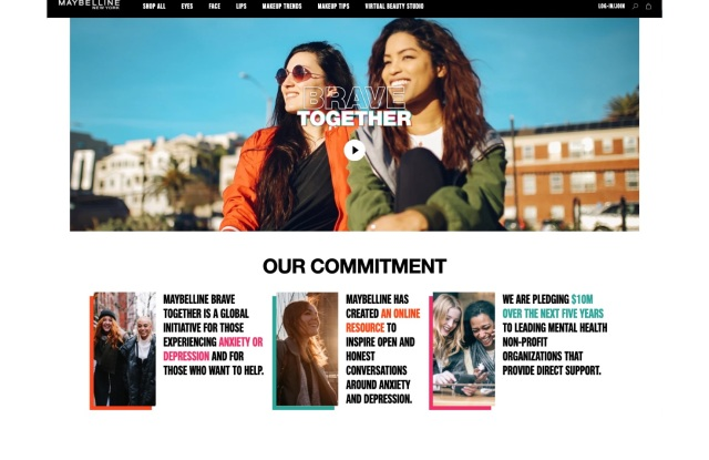 "The Maybelline New York ""Brave Together"" website."