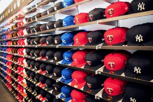 The MLB hat wall.