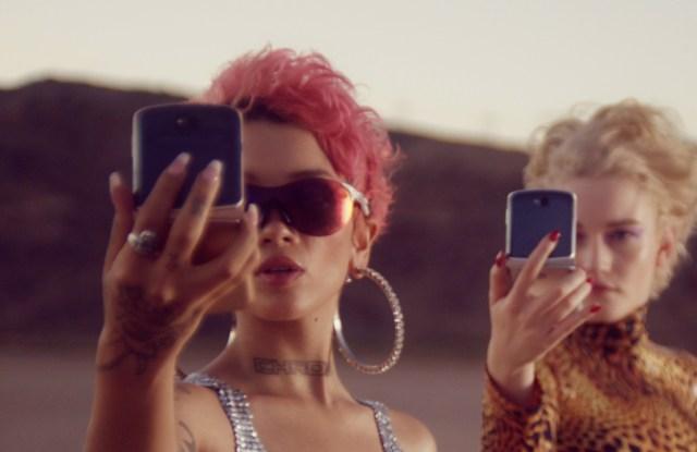 Motorola's latest Razr folding smartphone, as featured in a new fashion short film starring actress Julia Garner.