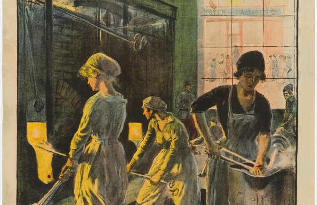 Women at work in a WWI-era poster.