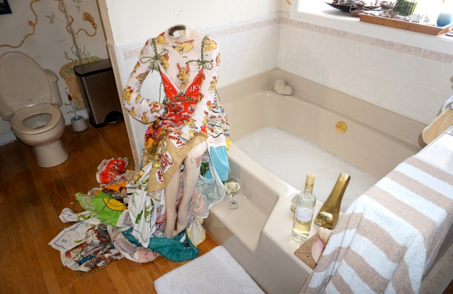 A photo from Zoe Grinfeld's senior thesis collection - photographed in her childhood home in Colchester, Conn.