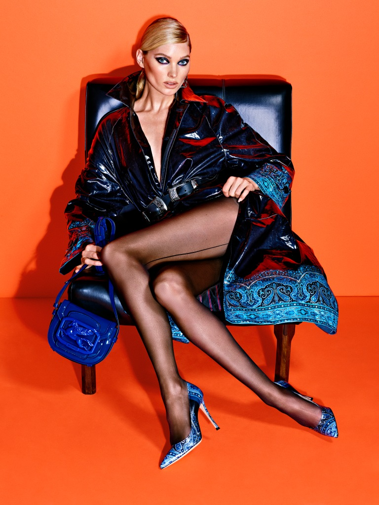 Elsa Hosk fronting Etro's latest digital campaign holding the brand's Pegaso Bag and wearing the Gianvito Rossi for Etro pumps.
