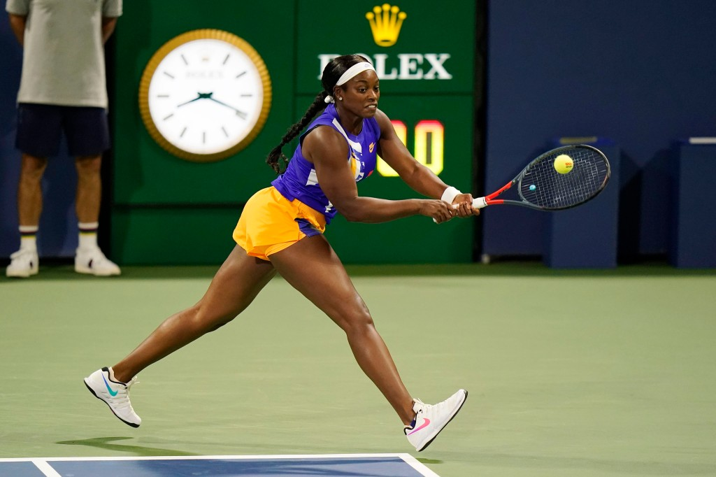 Sloane Stephens, of the United States, returns a shot to Mihaela Buzarnescu, of Romania, during the first round of the U.S. Open tennis championships, Tuesday, Sept. 1, 2020, in New York.