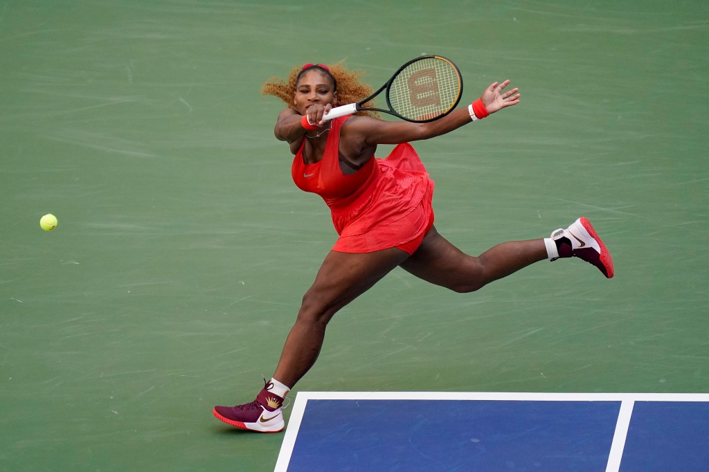 Serena Williams, of the United States, returns a shot to Sloane Stephens, of the United States, during the third round of the US Open tennis championships, Saturday, Sept. 5, 2020, in New York.