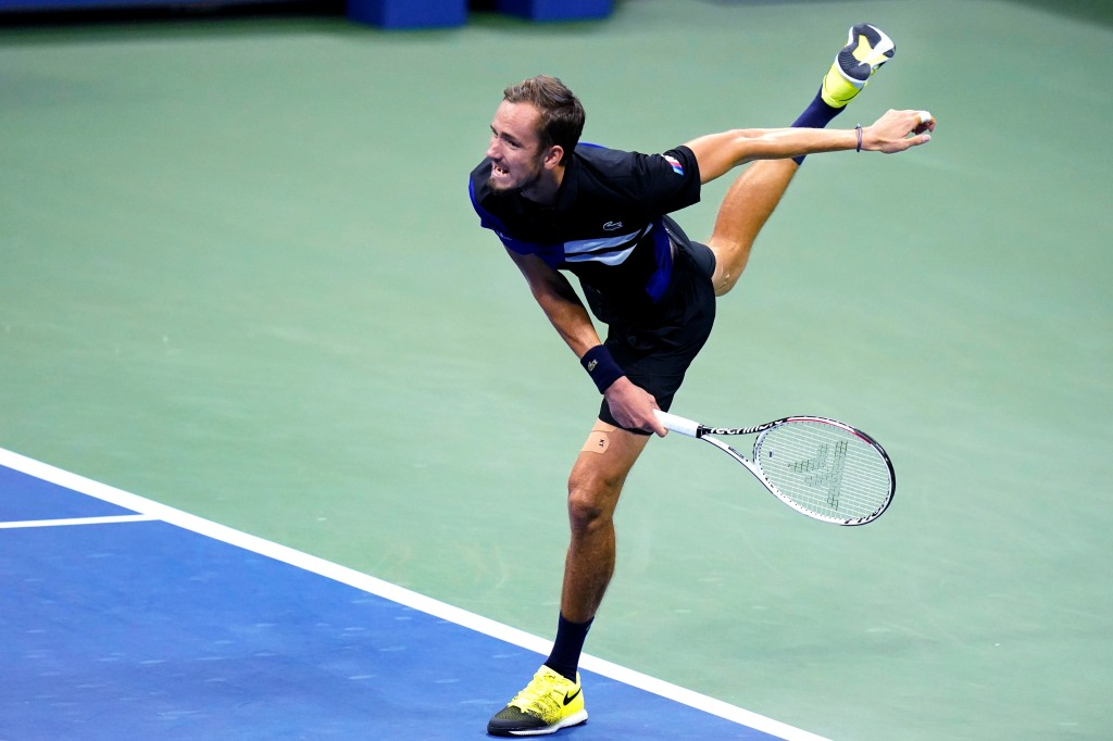 Daniil Medvedev, of Russia, serves to Frances Tiafoe, of the United States, during the fourth round of the US Open tennis championships, Monday, Sept. 7, 2020, in New York.