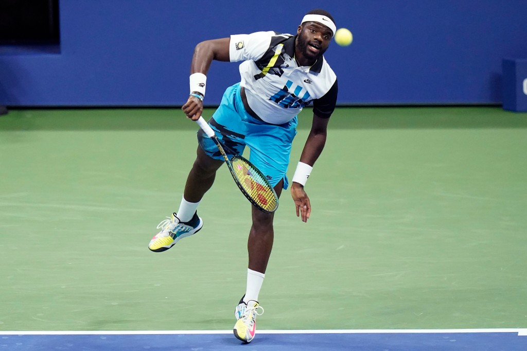 Frances Tiafoe, of the United States, serves to Daniil Medvedev, of Russia, during the fourth round of the US Open tennis championships, Monday, Sept. 7, 2020, in New York.