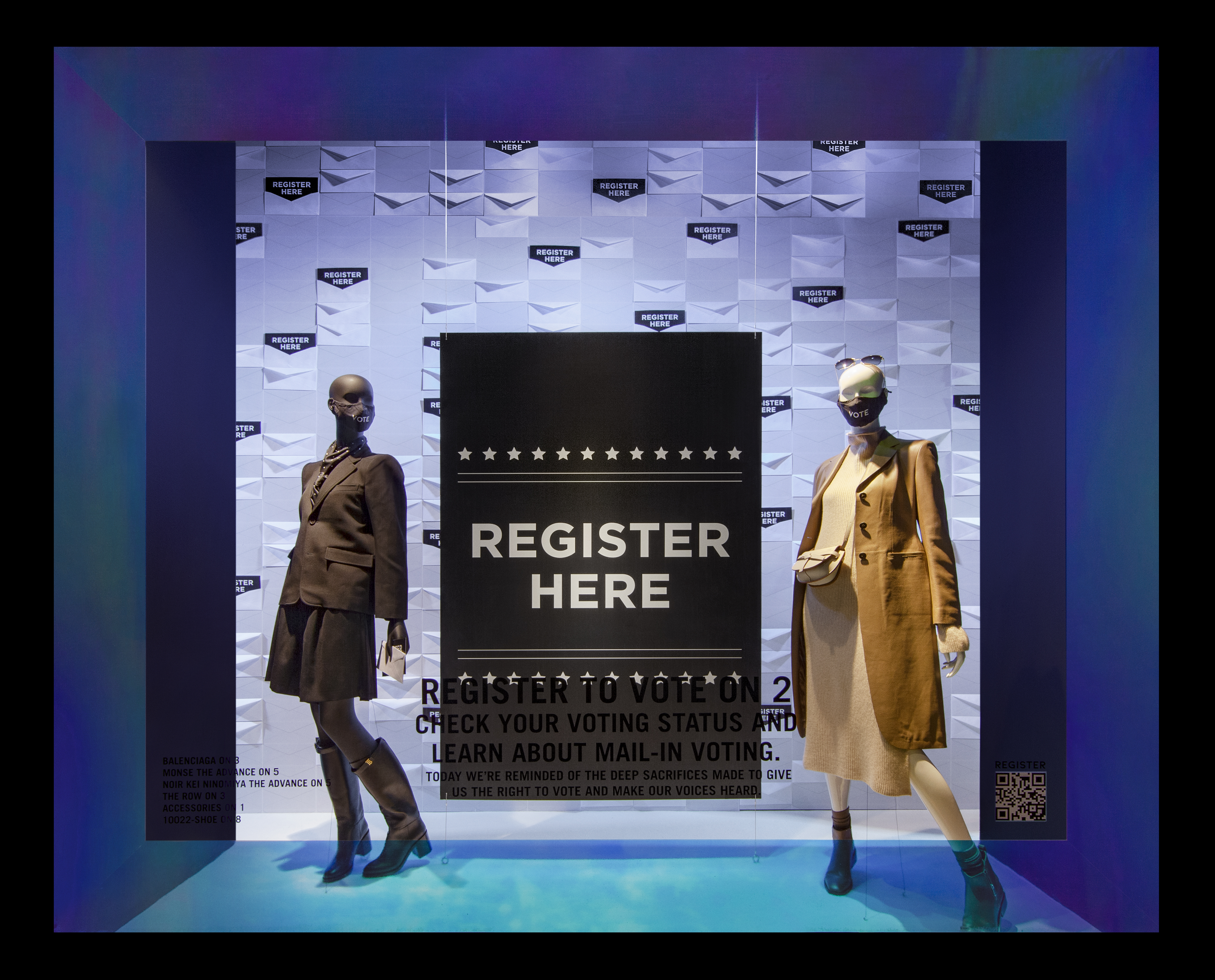 One of the Saks Fifth Avenue flagship windows encouraging people to vote.