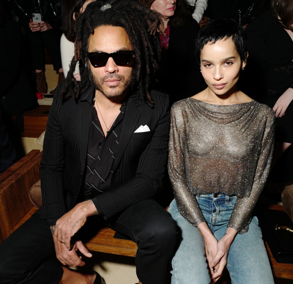 Lenny Kravitz and Zoe Kravitz in the front row at Saint Laurent RTW Fall 2020