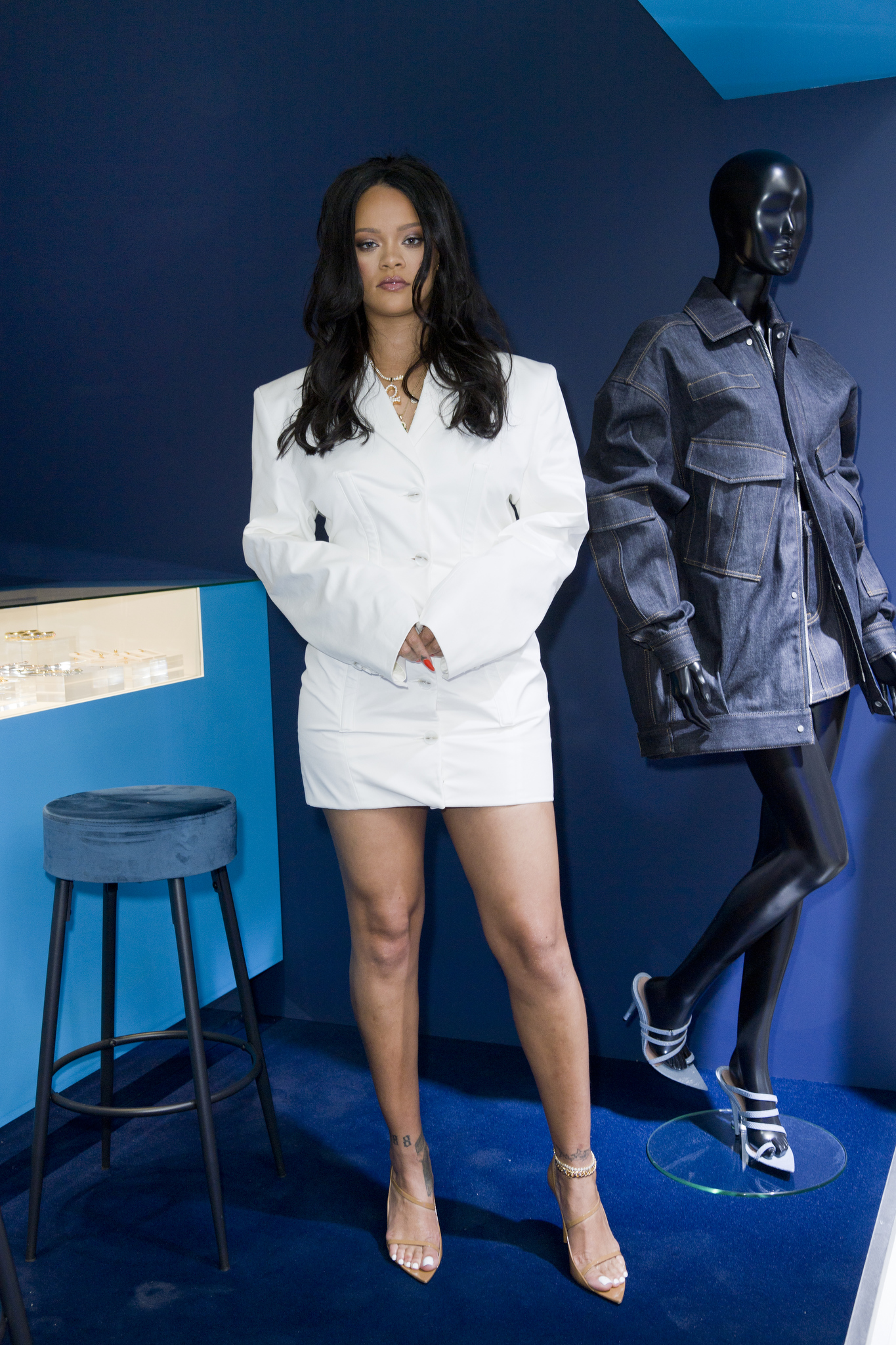 Rihanna at her first Fenty pop-up store in Paris, France.