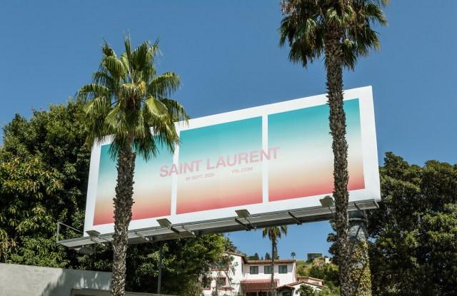 A billboard advertising Saint Laurent's men's show.