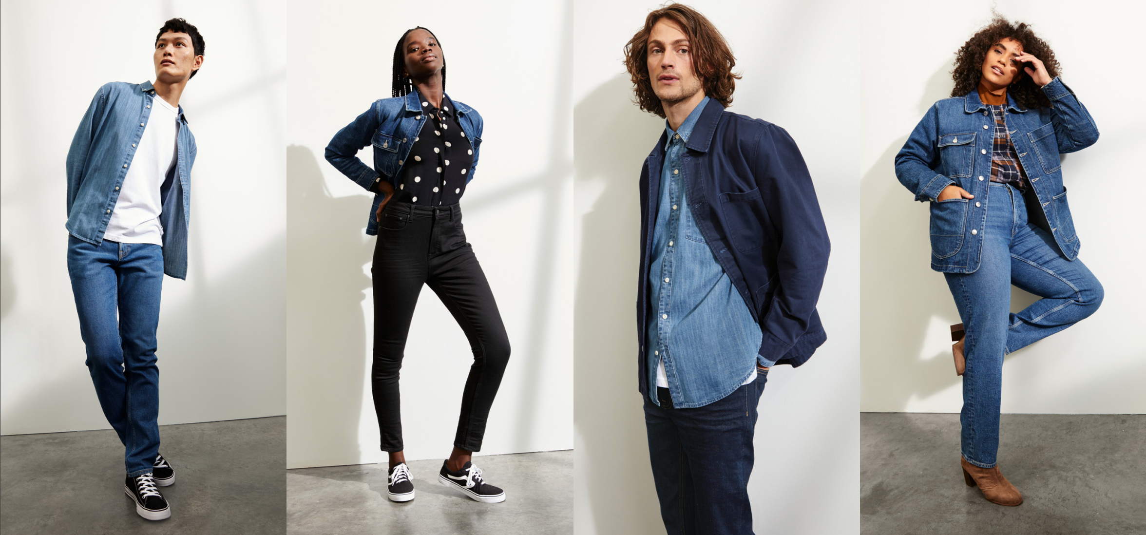 Denim looks from Walmart's Free Assembly Brand