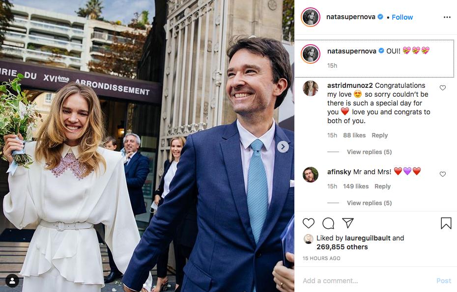 Natalia Vodianova announces her wedding on Instagram.