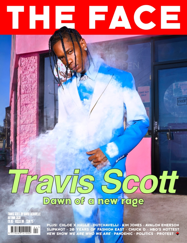 Travis Scott on the cover of The Face, shot by David LaChapelle.