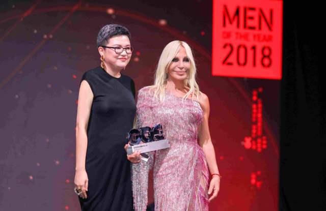 Sophia Liao with Donatella Versace at GQ China men of the year award.
