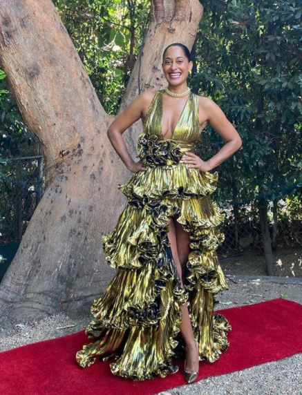 Tracee Ellis Ross wearing Alexandre Vauthier at the 2020 Emmys.