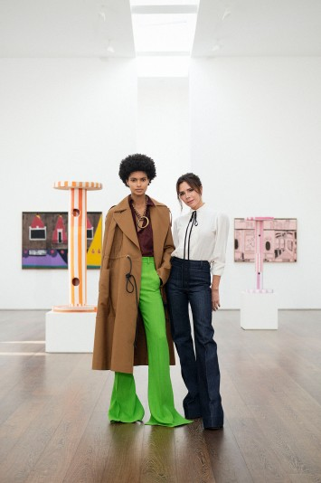 Victoria Beckham and a model in a look from her spring 2021 collection.