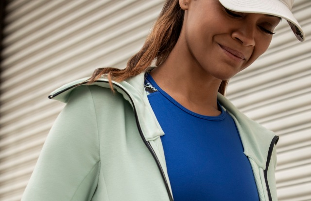 A look from the Adidas x Zoe Saldana collection, modeled by Saldana.