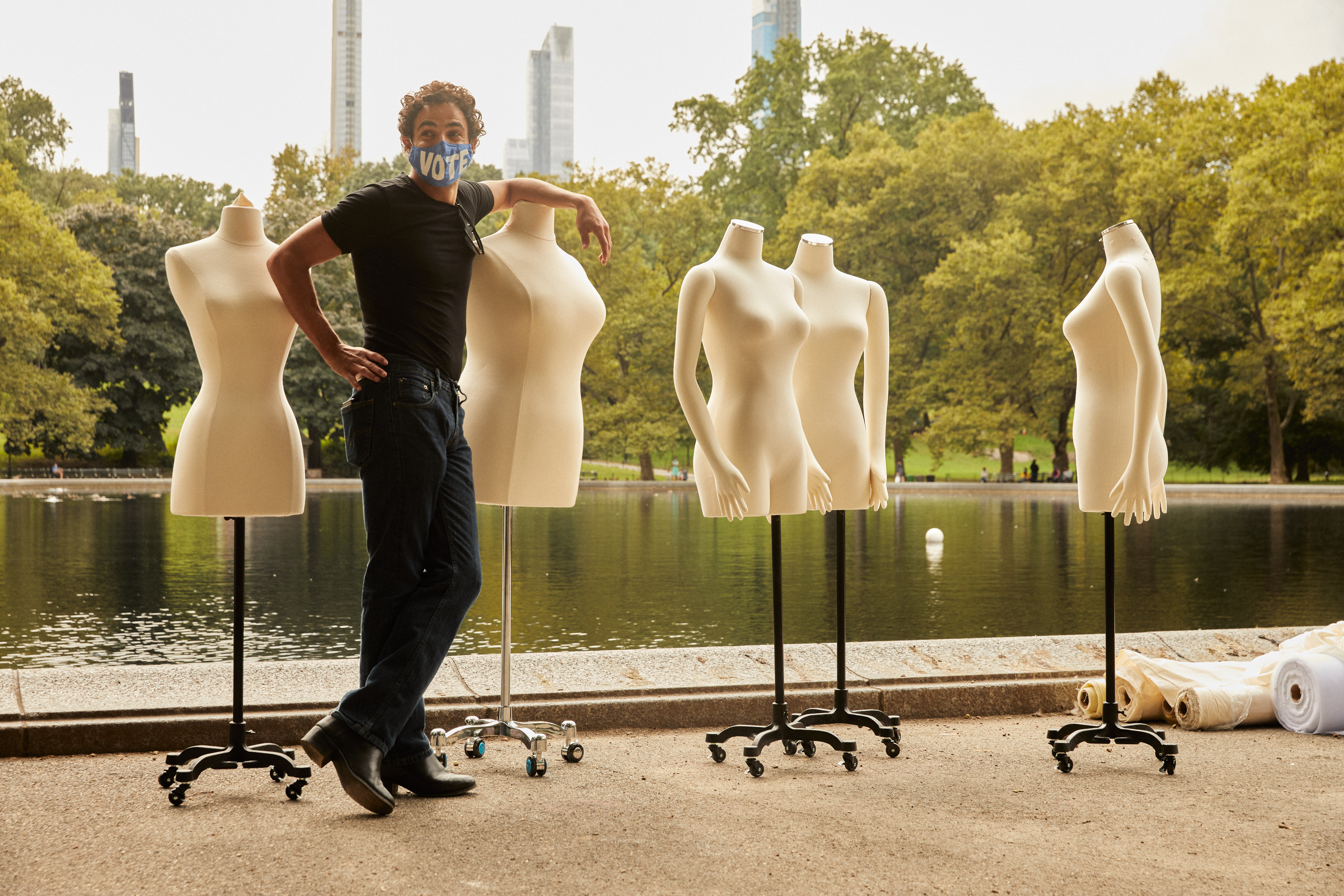 Zac Posen in his makeshift studio space alongside Central Park's Water Conservancy.