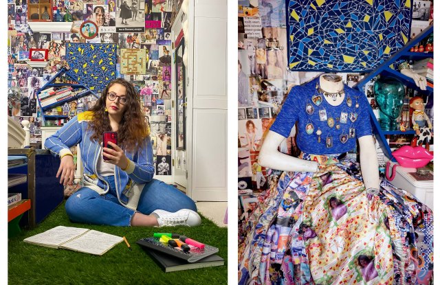 Designer Zoe Grinfeld at home in Colchester, Conn (left), and a design photographed in her childhood home (right).