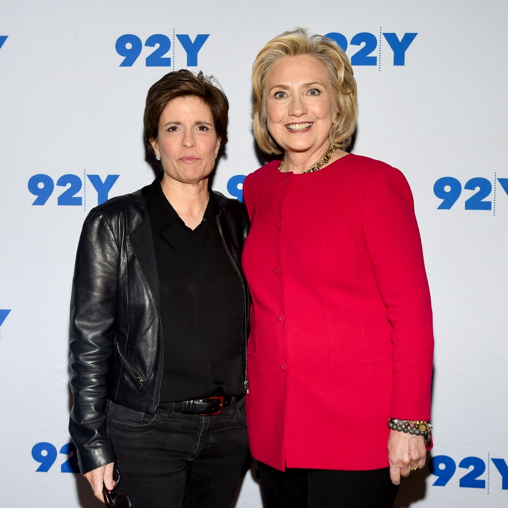 Former Secretary of State Hillary Clinton poses backstage with moderator Kara Swisher before their conversation at the 92nd Street Y on Friday, Oct. 26, 2018, in New York. (Photo by Evan Agostini/Invision/AP)