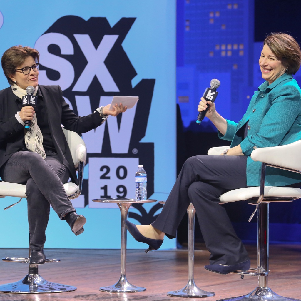 "U.S. Sen. Amy Klobuchar, D-Minn., right, takes part in a ""Conversations About America's Future"" program moderated by Recode editor Kara Swisher at ACL Live during the South by Southwest Interactive Festival on Saturday, March 9, 2019, in Austin, Texas. (Photo by Jack Plunkett/Invision/AP)"