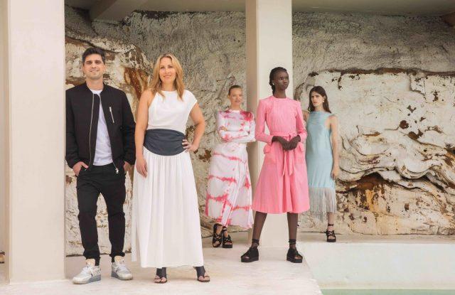Afterpay cofounder Nick Molnar; IMG executive director fashion events group, Asia-Pacific region Natalie Xenita and models Gemma Ward, Akiima and Anja Brown, photographed at Bondi Icebergs.