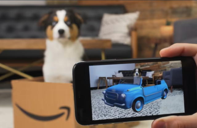 Amazon's AR app uses shipping boxes and QR codes to offer augmented reality experiences.