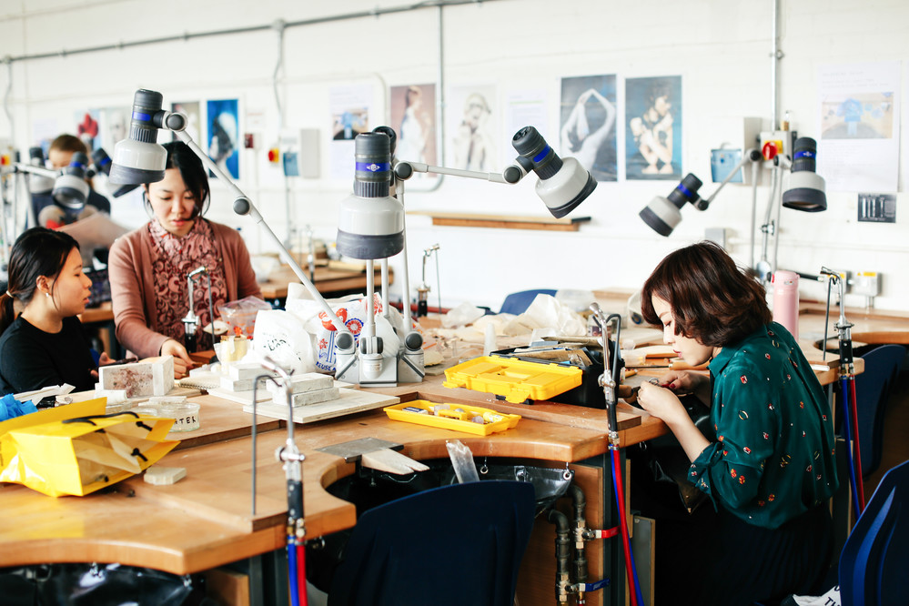 Student Ayano Kamakiri working in the London College of Fashion studio