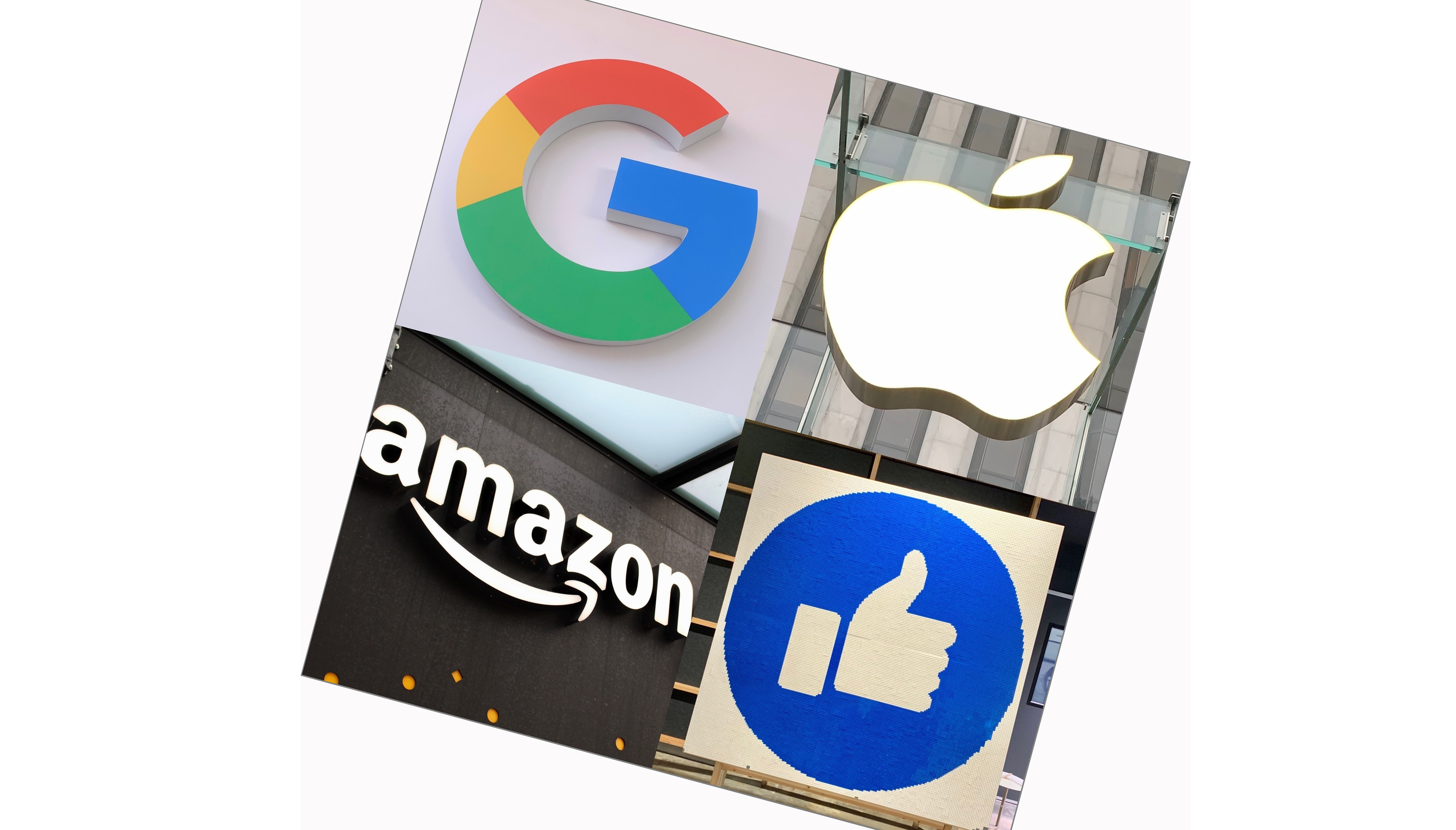 Undated combined photo shows the logos of (clockwise from top L) Google LLC, Apple Inc., Facebook Inc. and Amazon.com Inc. (Kyodo via AP Images) ==Kyodo