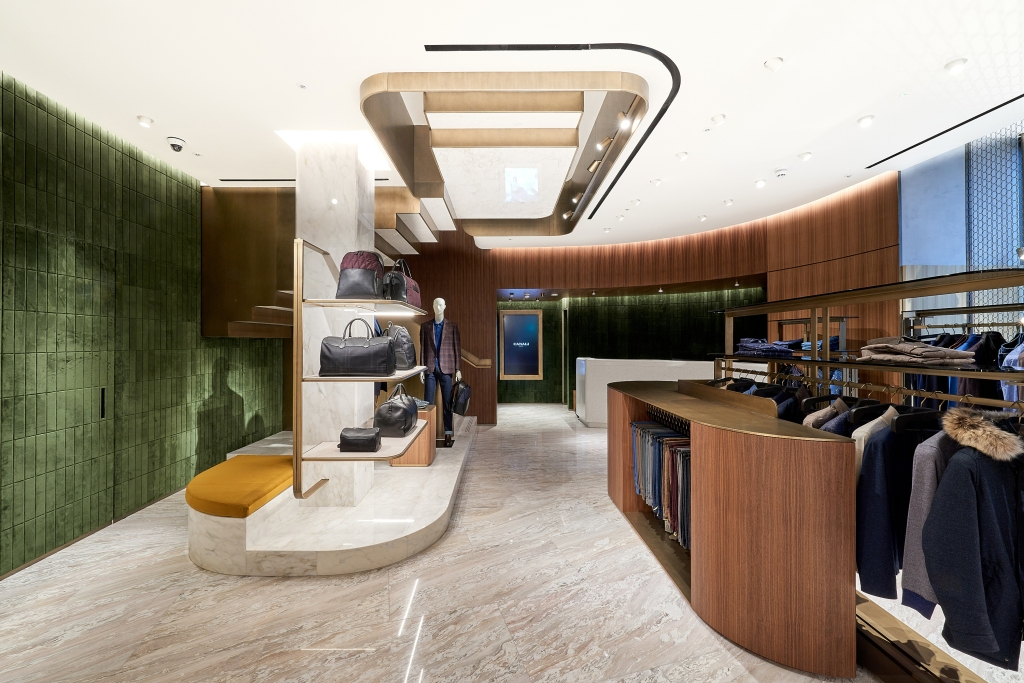 The interior of Canali's new New Bond Street store.