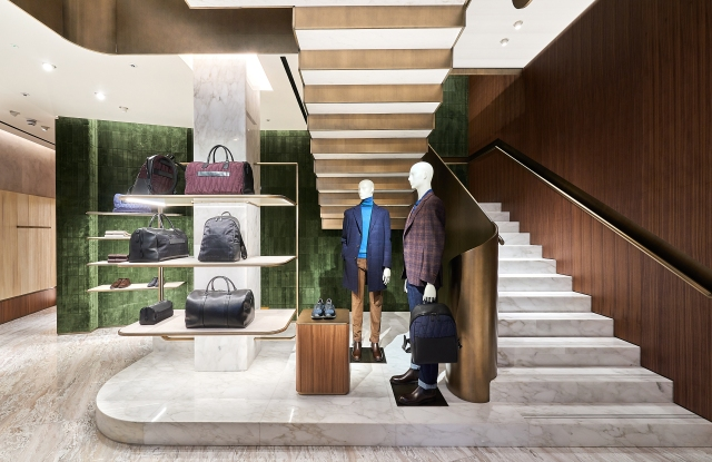 The central staircase inside Canali's new New Bond Street store in London.