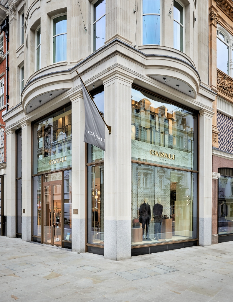 The new Canali store on the corner of New Bond Street and Brook Street in London.