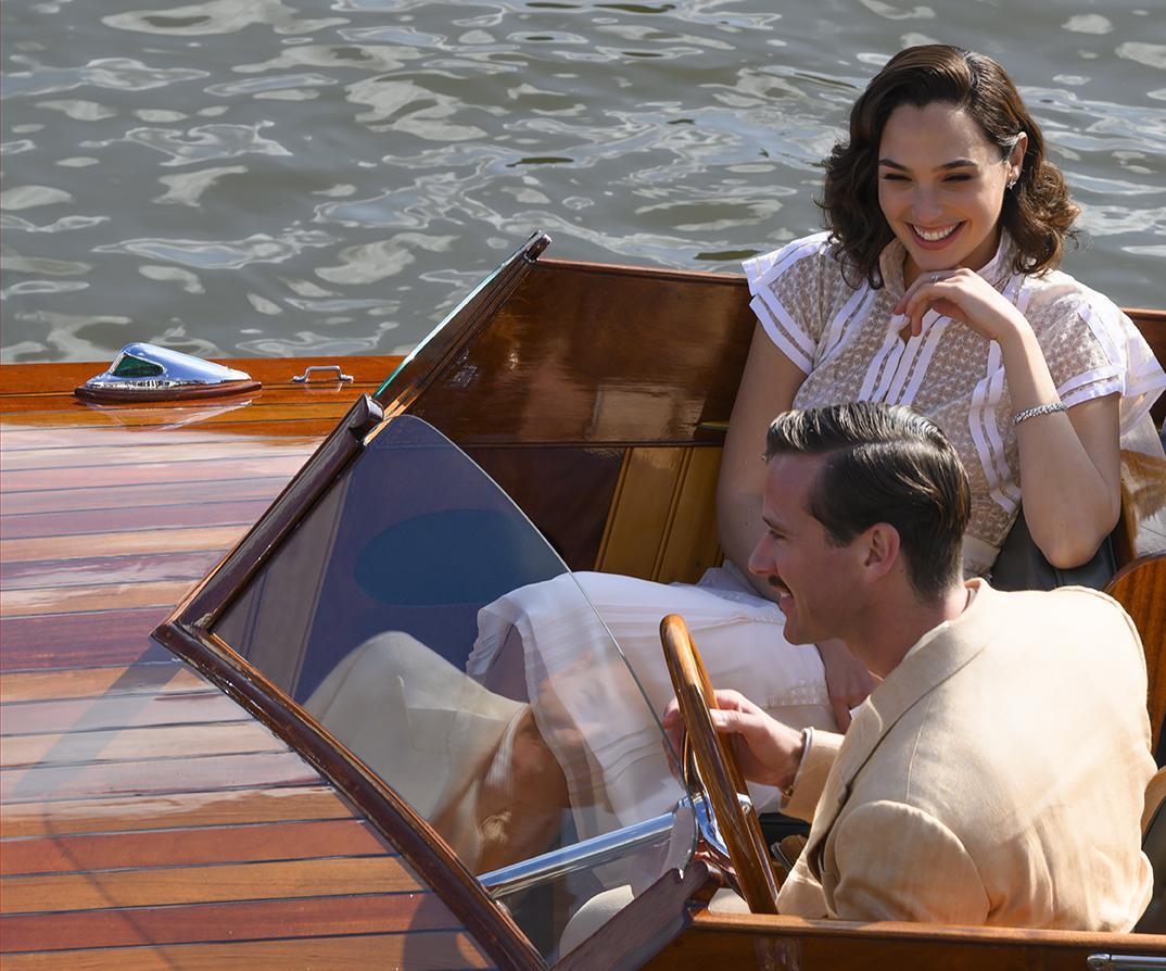 "Gal Gadot as Linnet Ridgeway and Armie Hammer as Simon Doyle in ""Death on the Nile"""