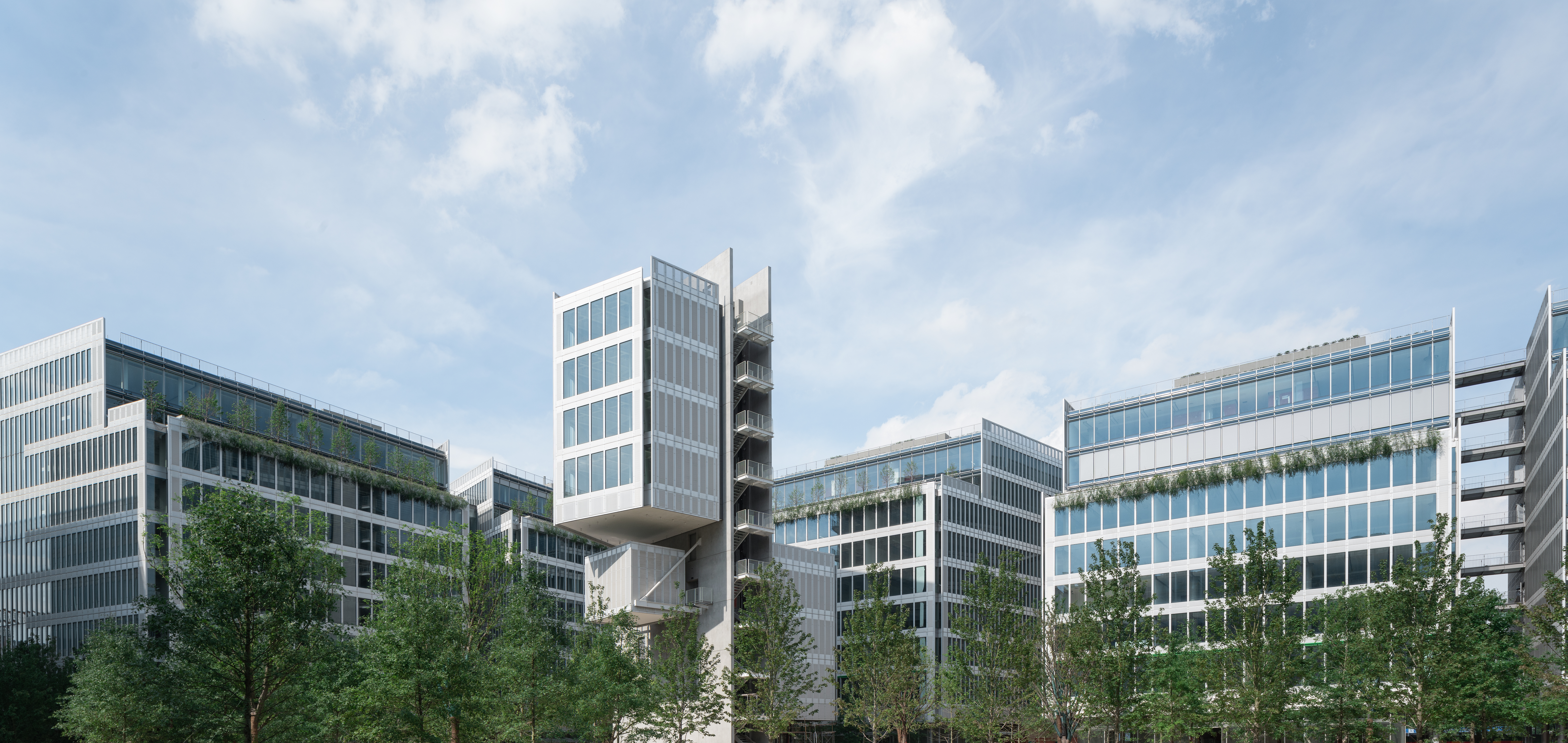 Panoramic view of JNBY Group's headquarter in Hangzhou, China, designed by Renzo Piano