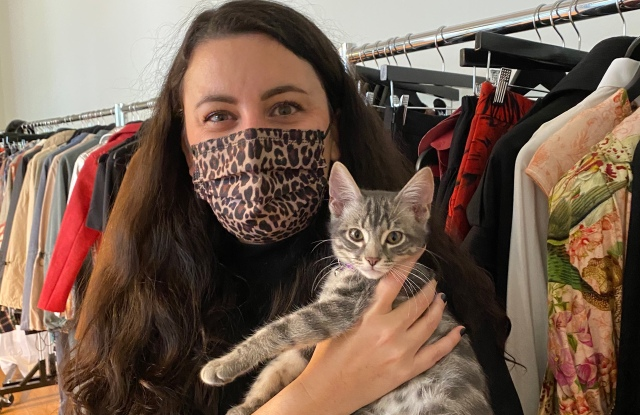 Vegan Fashion Showroom and Library founder Emmanuelle Rienda and her cat, Monkey.