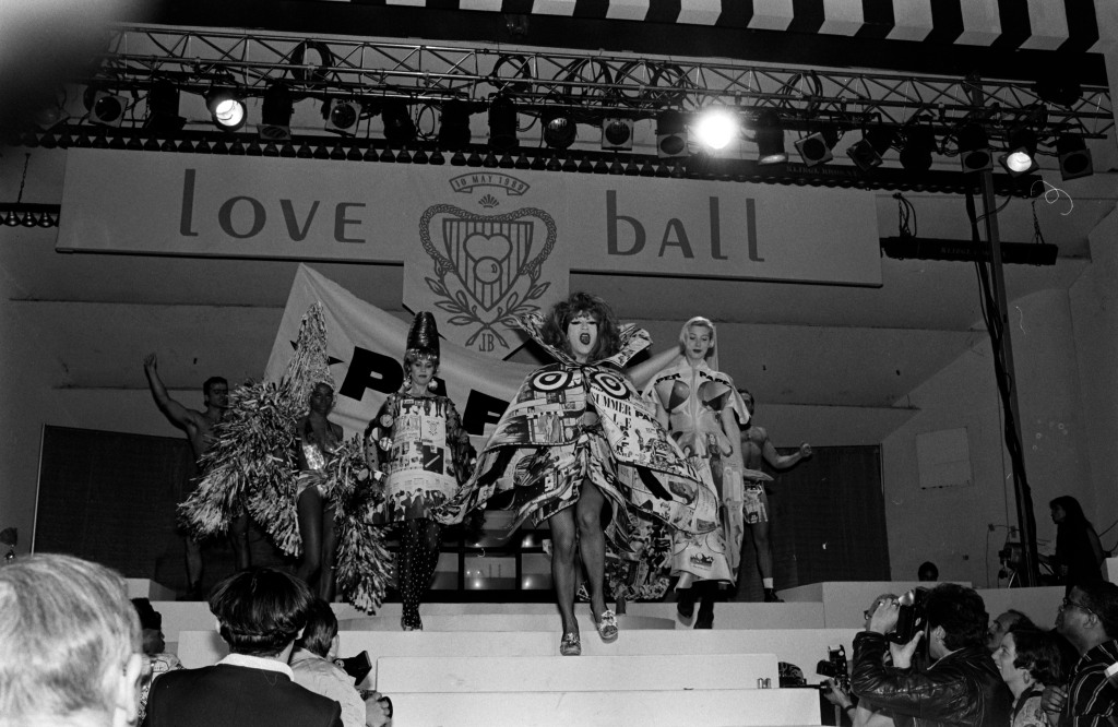 "Singers Lady Miss Kier, Kate Pierson of the B-52's and guests model Paper magazine's couture paper dresses. The ""Love Ball"" took place at Roseland Ballroom in New York."