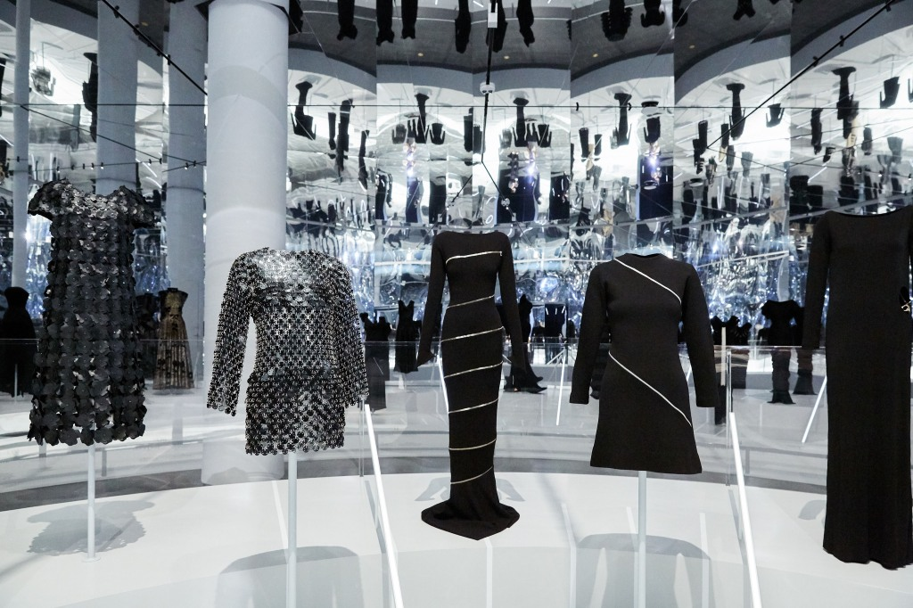 """A panoramic view of """"About Time: Fashion and Duration"""" at The Met."""