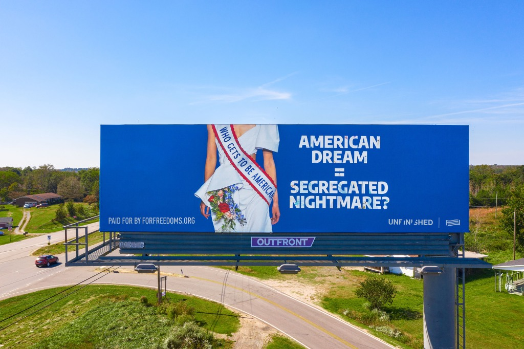 This For Freedoms' billboard in Peachland, N.C. features imagery from Prabal Gurung's spring 2020 campaign.