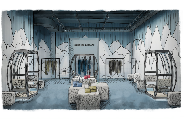 A rendering of the Giorgio Armani pop-up in Aspen, Colo., which opens in November.
