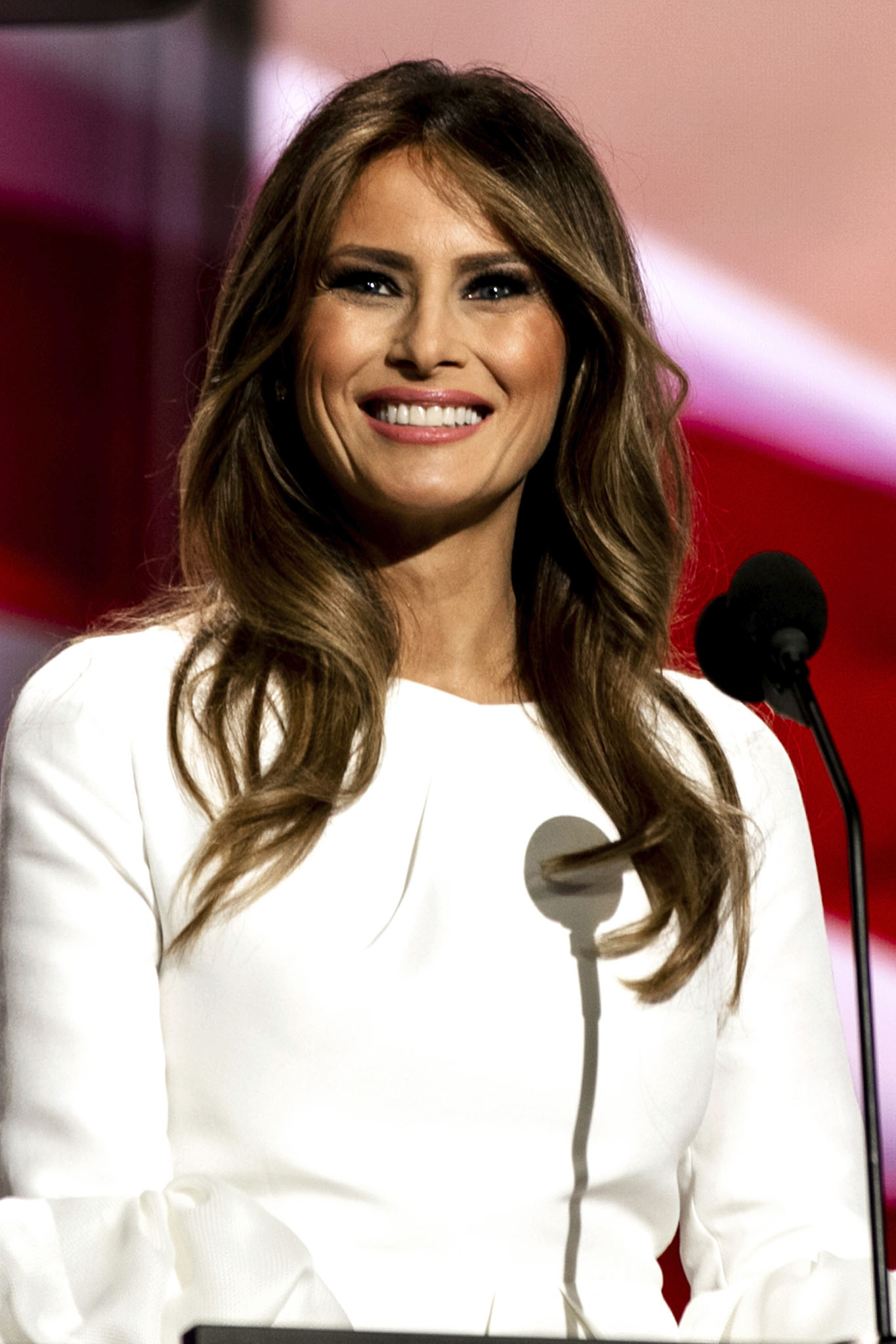 Cleveland Ohio, USA, 18th July, 2016 Future First Lady Melania Trump addressses the Republican National Nominating Convention from the podium in the Quicken Sports Arena Credit: Mark Reinstein/MediaPunch /IPX