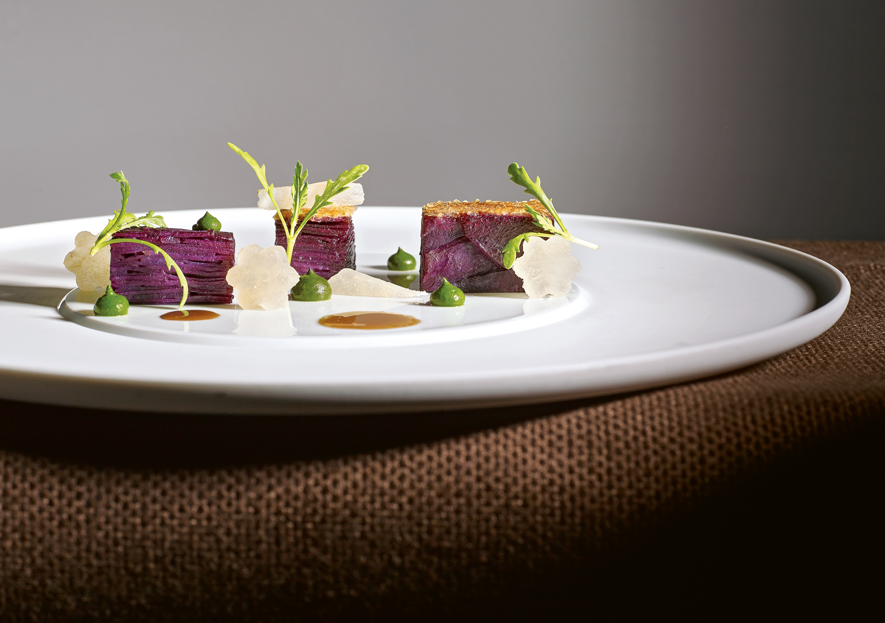 """Molokai Sweet Potato Mille-Feuille from Thomas Keller's cookbook """"The French Laundry, Per Se."""""""