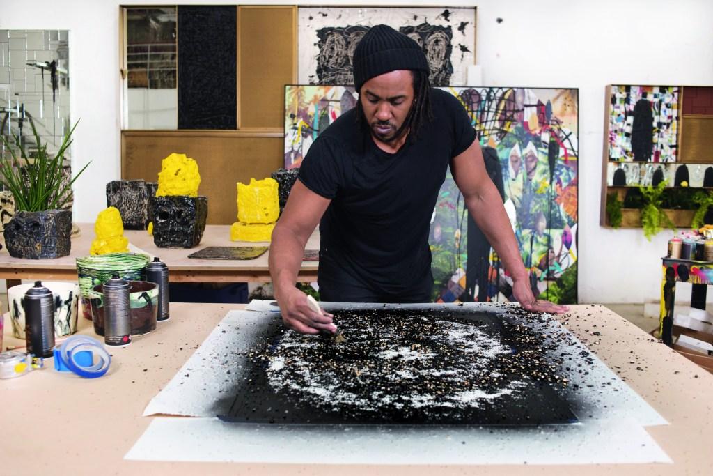 Rashid Johnson in his studio in Bushwick, Brooklyn on Wednesday, March 13, 2019. Photograph by Casey Kelbaugh