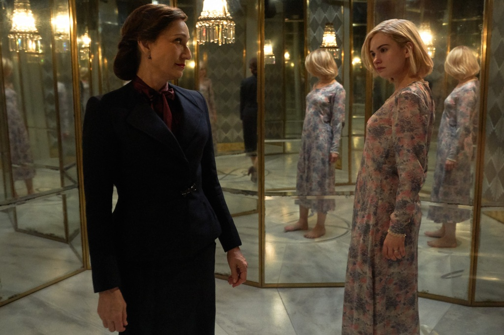 Rebecca:(L to R) Kristin Scott Thomas as Mrs. Danvers, Lily James as Mrs. de Winter.