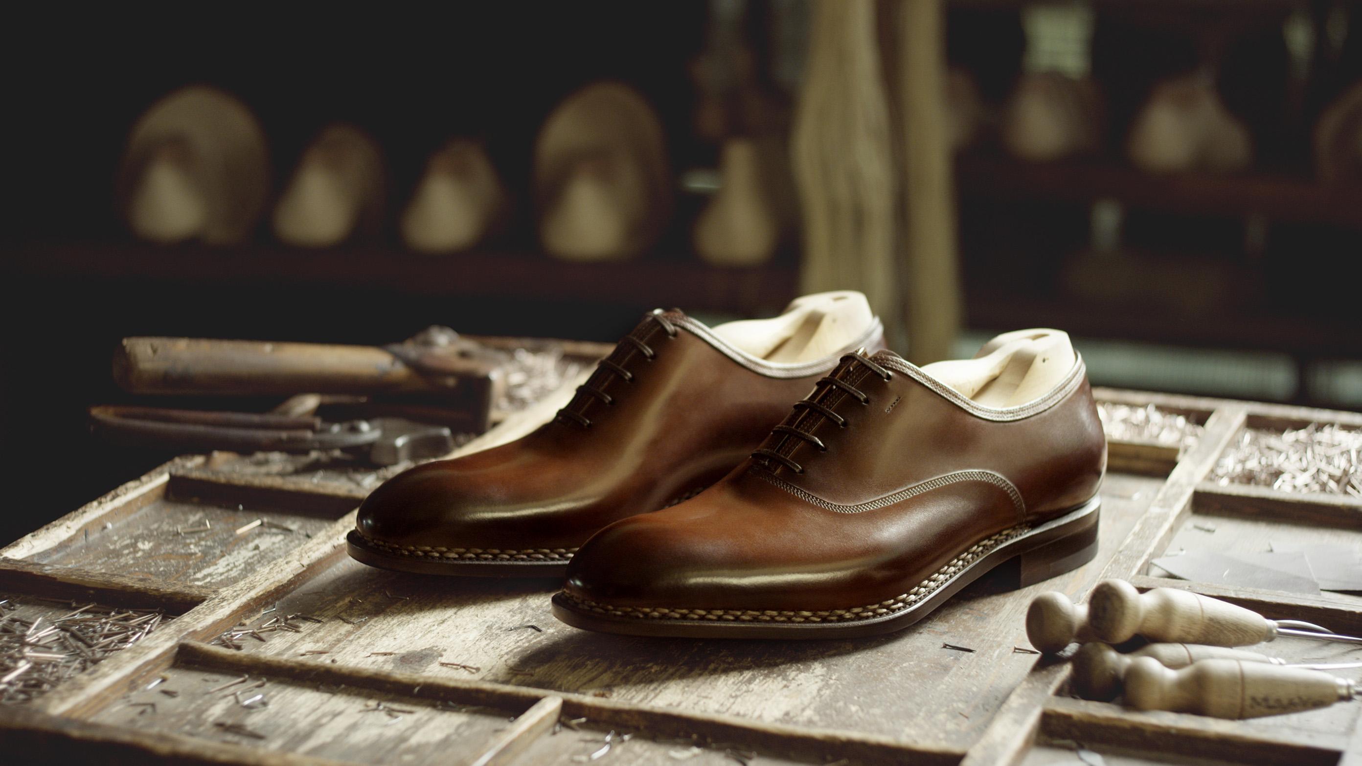 A pair of Tramezza men's shoes by Salvatore Ferragamo.