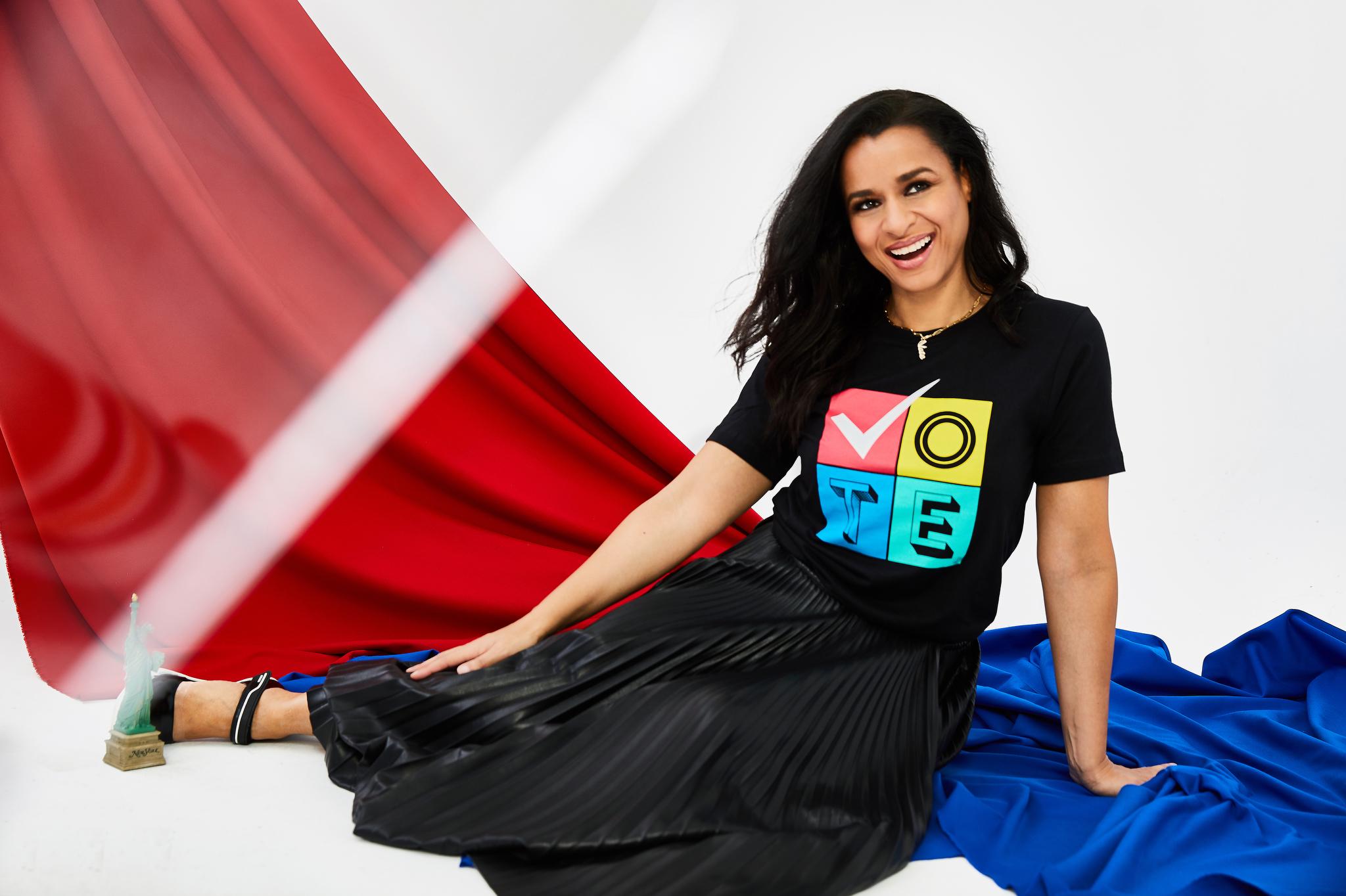 Prabal Gurung's T-shirt and Nanushka's vegan leather skirt. Prada shoes; Jennifer Fisher necklace.