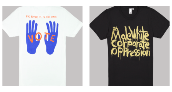 A T-shirt by the Haas Brothers (left) and Kim Gordon for Downtown for Democracy.