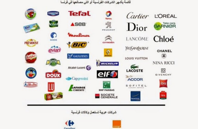 A list of French products to boycott on Twitter.