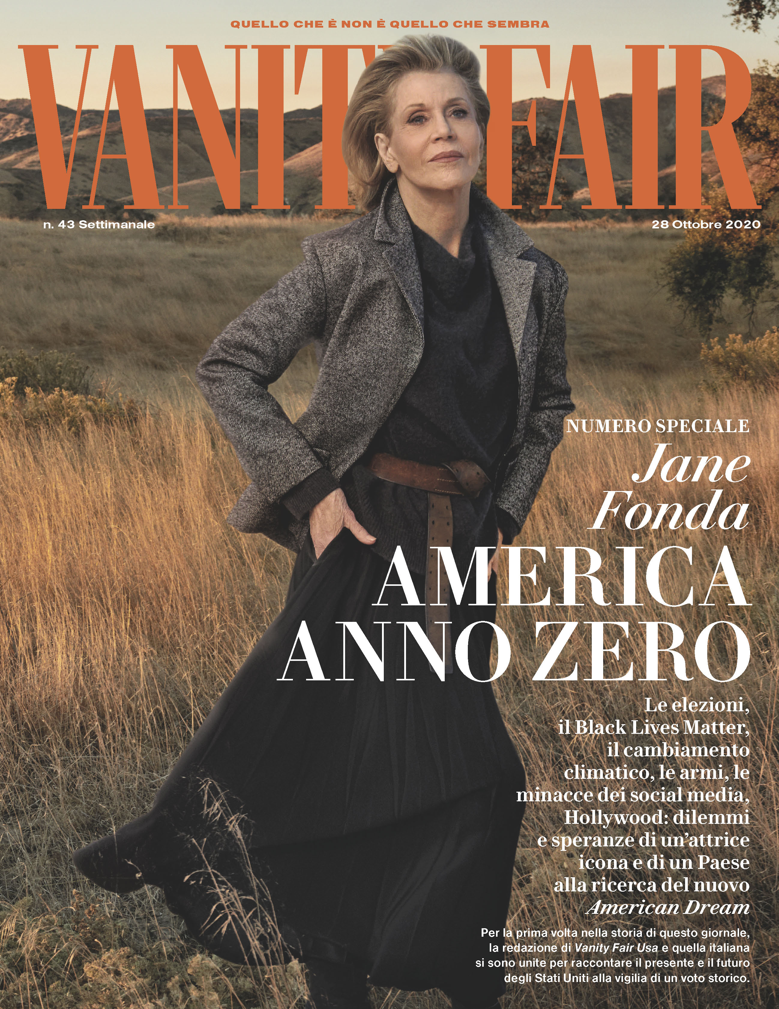 Jane Fonda on the cover of Vanity Fair Italia.