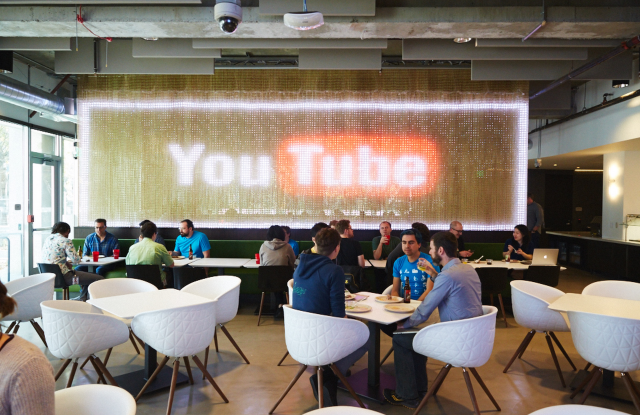Staffers dining at YouTube Cafe.